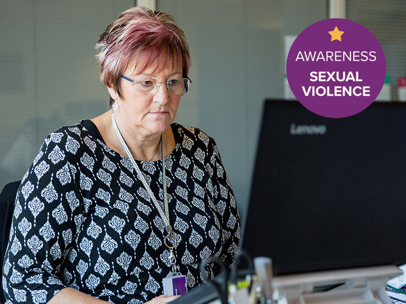 Woman completing the Sexual Violence Awareness Online Course