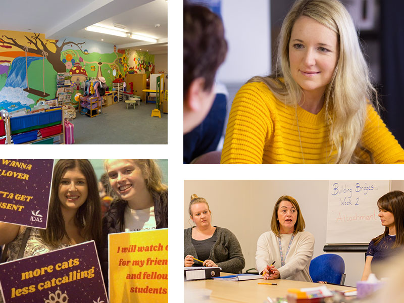The children's playroom in the York refuge, an IDAS support group, working with schools and colleges, one-to-one mentoring